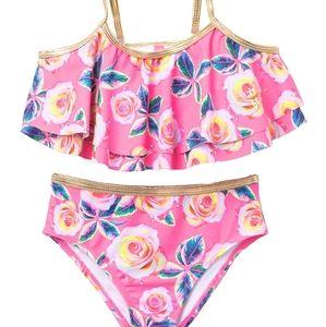 NWT Betsry Johnson neon pink floral 2 piece bikini